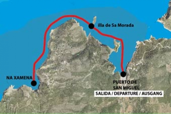 Route of the Port of Sant Miquel to the Bay of Na Xamena