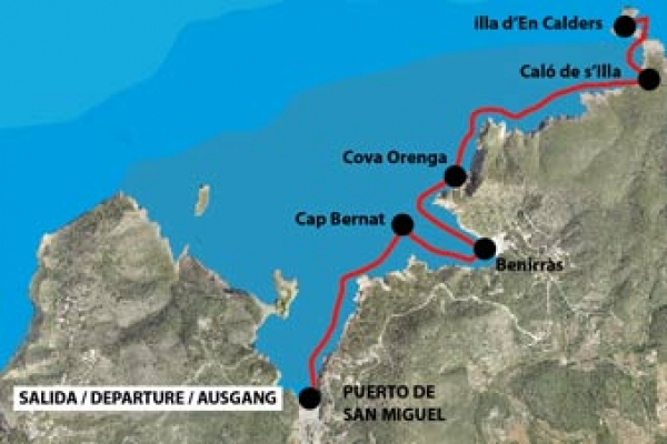 Route from the Port of Sant Miquel to es Caló de s'Illa
